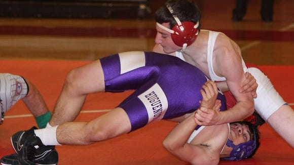 North Rockland beat New Rochelle 46-17 in a Division 1 quarterfinal of the Section 1 Dual Meet Championships at North Rockland Dec. 8, 2015.