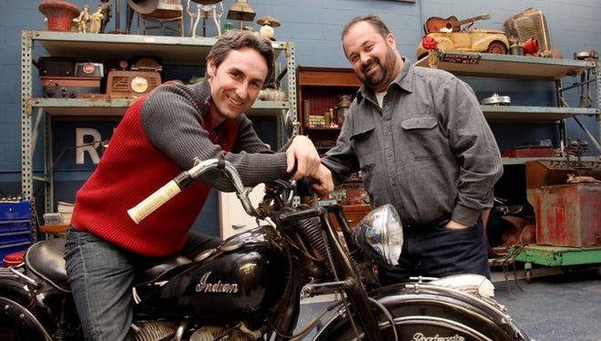 American Picker Mike Wolfe, left, is helping to promote Iowa history. He's shown here with his TV show co-star, Frank Fritz.