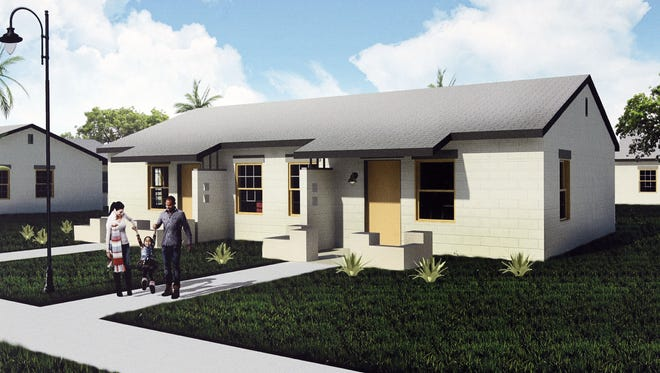 A rendering of the remodeled Coffelt-Lamoreaux Apartment homes southwest of downtown Phoenix. About $44 million in work has been approved for the historic public-housing site.