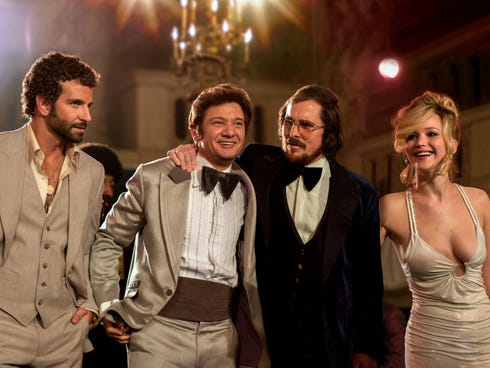 David O. Russell's latest film, 'American Hustle,' sports an all-star cast that includes Bradley Cooper, left, Jeremy Renner, Christian Bale and Jennifer Lawrence.
