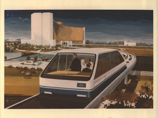 An artists drawing of the Ford monorail car at Fairlane Towne Center in Dearborn, Michigan. The monorail connected the Hyatt hotel with the mall.