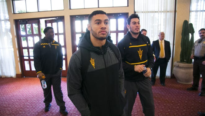 ASU wide receiver D.J. Foster (center) defensive lineman Tashon Smallwood (left) and quarterback Mike Bercovici enter the ballroom for the Motel 6 Cactus Bowl Media Day at the JW Marriott Scottsdale Camelback Inn Resort and Spa on Thursday, December 31, 2015. ASU plays West Virginia in the Motel 6 Cactus Bowl Media Day at Chase Field in Phoenix on Saturday, January 2, 2016.