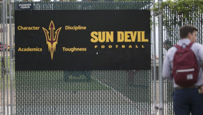 ASU's gate is closed before allowing in reporters at ASUÕs practice fields in Tempe, Ariz. on July 30, 2017.