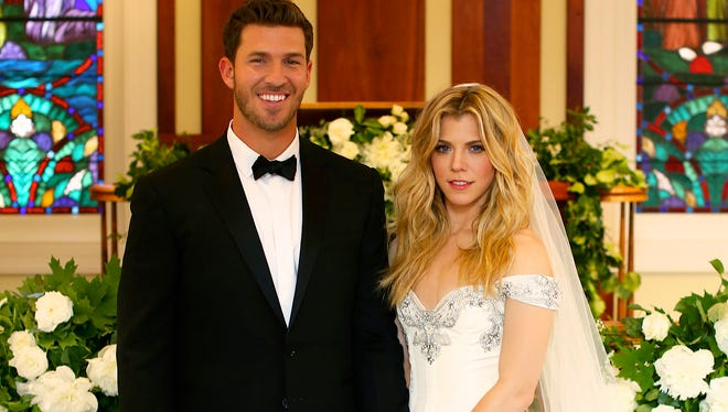 Kimberly Perry of The Band Perry wed pro baseball player J.P. Arencibia in Greeneville, Tenn. on June 12, 2014.