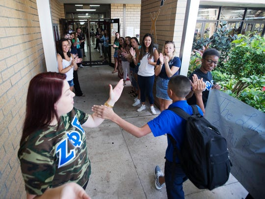 Lehigh Acres Middle School students are greeted by members of local sororities, fraternities and staff members of the school. Students had a long lay off due to Hurricane Irma. Lehigh Acres was one of the hardest hit areas in Lee County.