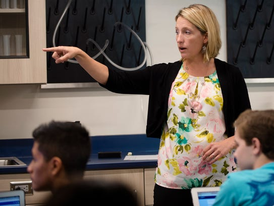 Crystal Adams teaches Robotics 4 on the first day at