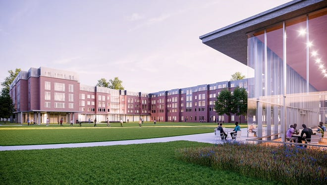 An artist's rendering shows a new 20,000 residence hall to be built at Delaware State University.