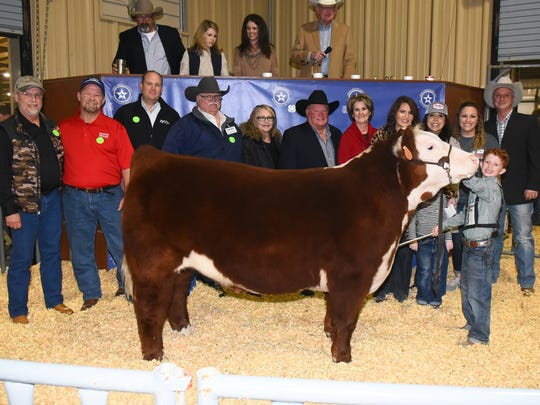 Blaize Benson representing Tom Green County 4-H earned grand champion steer during the 2018 Tom Green Junior Livestock Show on Jan. 12-13. ​​​​​​​Buyers: Twin Mountain Fence, Raymond Meza;  John and Debbie Conn; Bank of San Angelo; M.L.Leddy's; Elliot Equipment, Bill and Carol Elliott; Palmer Feed and Supply; Texas Trust Credit Union, Brett Nikolauk; PAK Quality Foods; Sonora Bank, Bob Pfluger; West Texas Steel, Paul English; 1st Community Federal Credit Union, Vicki Loso.