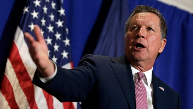 Republican presidential candidate, Ohio Gov. John Kasich speaks during a news conference in New York on March 31.  Kasich is convinced he can swing hundreds of delegates to swing his way at a contested summer convention by assuring that only he can usher his party back into the White House.