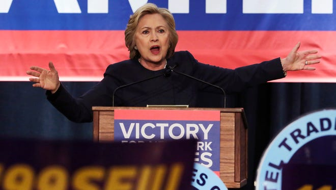 Democratic presidential candidate Hillary Clinton address a labor union rally Monday at the Javits Convention Center in New York.