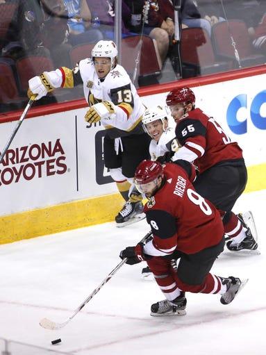 Arizona Coyotes right wing Tobias Rieder (8) skates