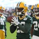 Green Bay Packers cornerback Casey Hayward catches the ball during drills at training camp practice at Ray Nitschke Field, Wednesday, August 27, 2014.
