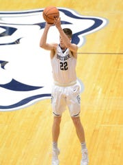 Butler's Sean McDermott shoots during a win over Furman.