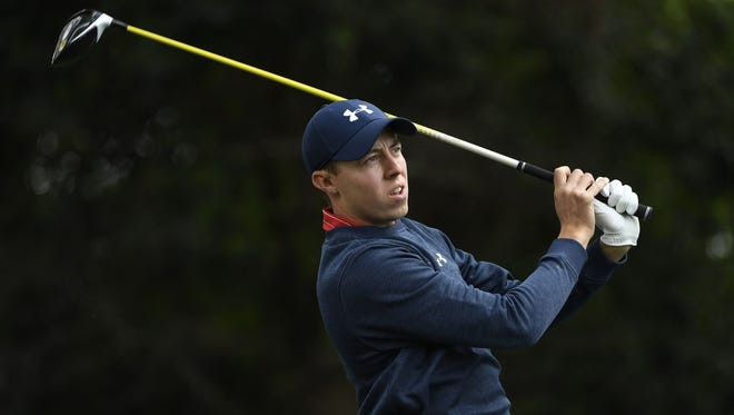 Matthew Fitzpatrick hits his tee shot on the 2nd hole during the first round of the Masters at Augusta National on April 6.