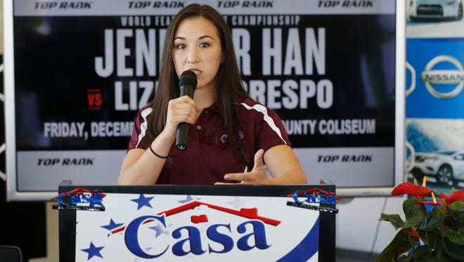 El Pasoan and IBF world featherweight champion Jennifer Han announces her title defense against the No. 1 contender and mandatory challenger Lizbeth Crespo. The fight originally was set for Dec. 1, but was postponed until Saturday at the Don Haskins Center.