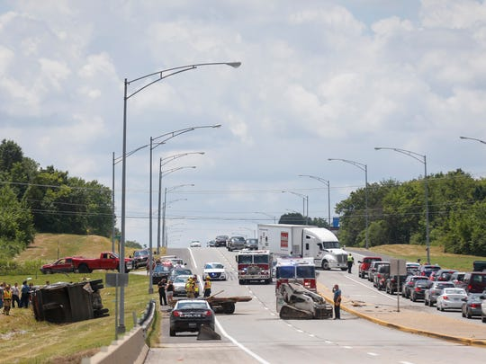 Traffic was blocked on northbound West Bypass on Saturday,