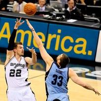 Spurs center/forward Tiago Splitter, shooting against Dallas forward Dirk Nowitzki in last year's playoffs, scored a season-high 23 points against Atlanta on March 22.