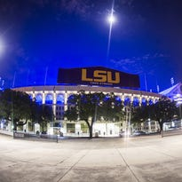LSU's Tiger Stadium was lit in blue to honor three slain Baton Rouge area law enforcement officials.