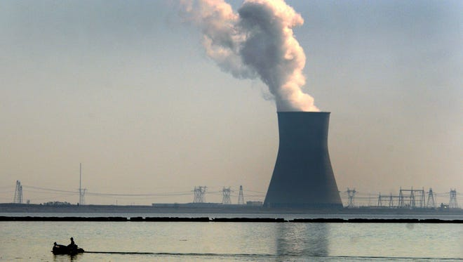 The cooling tower at the Hope Creek and Salem nuclear complex in Salem County, N.J.