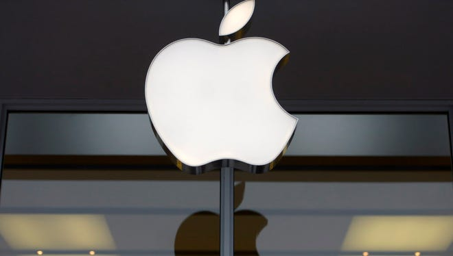 A file picture dated 27 January 2015 of the company's logo at an Apple Store in Washington, DC, USA.