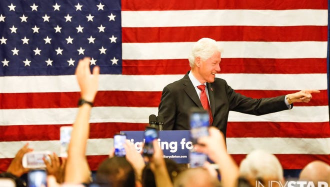 Bill Clinton on stage at the Hillary Clinton campaign office in Indianapolis on Tuesday.