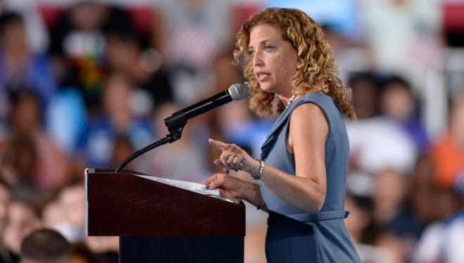 Democratic National Committee chair Debbie Wasserman Schultz speaks at a campaign rally for Hillary Clinton in Tampa on July 22, 2016.
