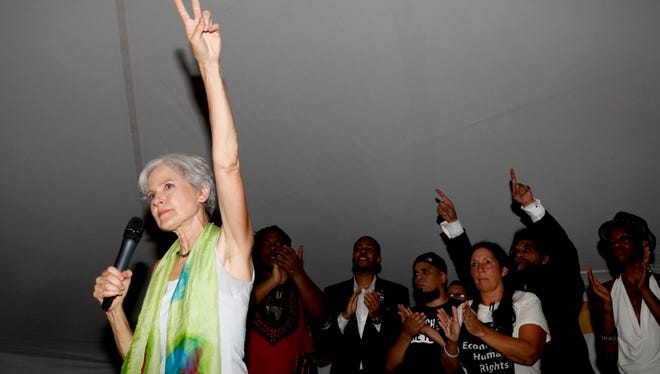 Dr. Jill Stein, presumptive Green Party presidential nominee, speaks at a Power to the People Rally at Franklin Delano Roosevelt Park, Monday, July 25, 2016, in Philadelphia, during the first day of the Democratic National Convention.