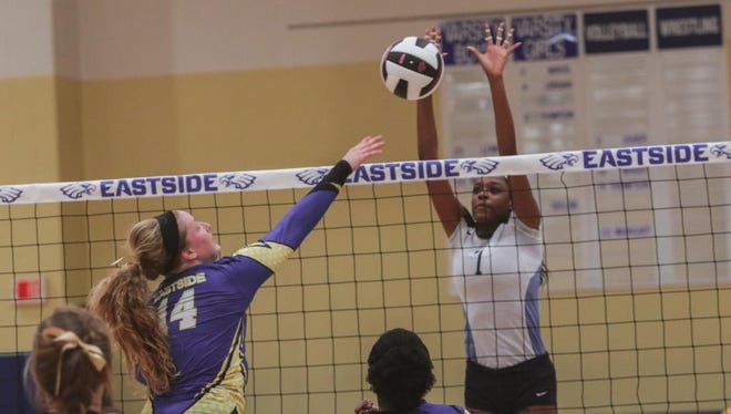 Eastside Allie Wright goes for the kill against Daniel's Adina Oliver.  Eastside hosted Daniel in AAAA volleyball playoffs  Tuesday November 1, 2016