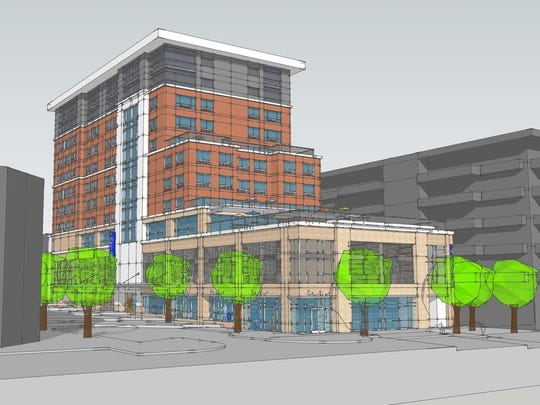 A rendering of the Cambria Hotel coming to downtown Asheville, on the corner of Battery Park and Page avenues.