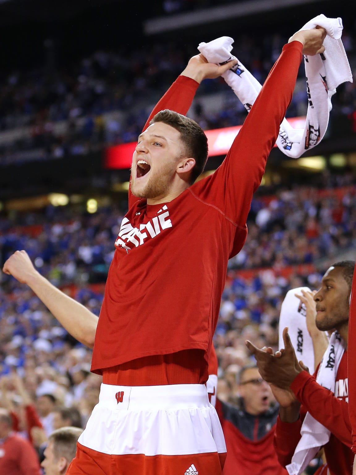 Wisconsin Badgers guard Zak Showalter celebrates a