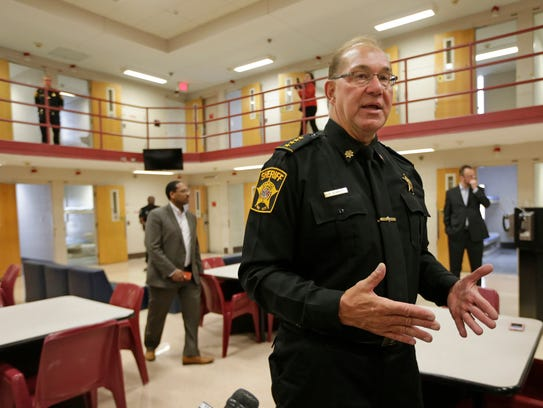 Acting Milwaukee County Sheriff Richard Schmidt on an April 5 tour of the Milwaukee County Jail for local officials and media.
