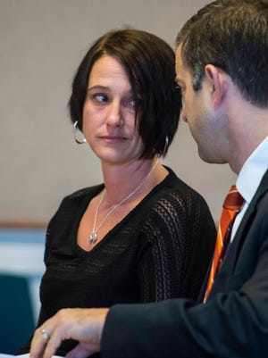 Holly Gonyeau, left, speaks with her attorney Brooks McArthur as she pleads no contest to a DUI in Vermont Superior Court in Middlebury on Monday, November 16, 2015. Gonyeau was involved in a June accident which killed cyclist Dr. Ken Najarian. Prosecutors decided that there was not enough evidence to charge Gonyeau with a more serious offense.