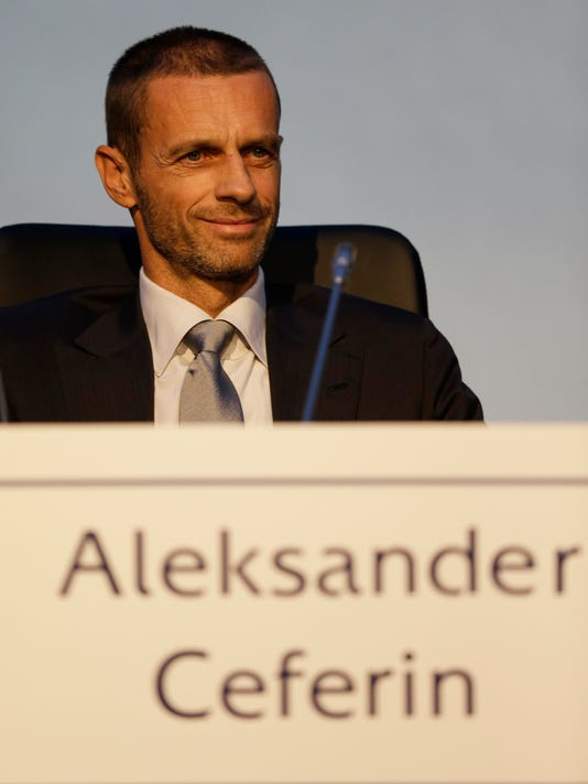 Aleksander Ceferin, speaks during a press conference after he was elected the new president of UEFA in Athens, on Wednesday, Sept. 14, 2016. UEFA elected Aleksander Ceferin to succeed Michel Platini as president on Wednesday, replacing one of the greats of soccer with a largely unknown Slovenian lawyer to lead the European game. (AP Photo/Thanassis Stavrakis)