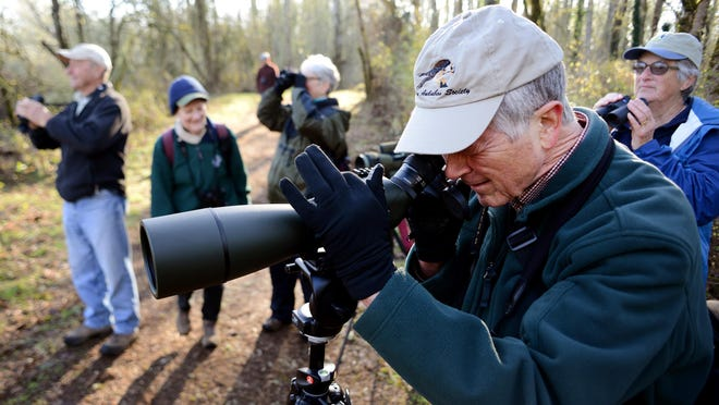 Fred Stephens, looking through a field scope, is one of the Salem Audubon leaders for monthly field trips at Minto-Brown Island Park, shown here, and at Ankeny National Wildlife Refuge such as the June 20,2015, outing.
