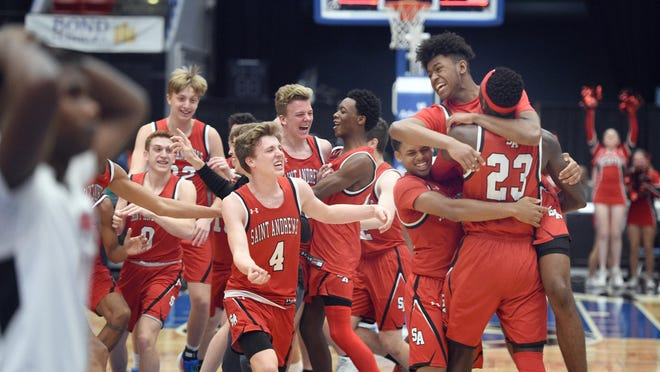 St. Andrew's players celebrate their Class 3A final victory over Jacksonville-Andrew Jackson at the RP Funding Center on Saturday in Lakeland.
