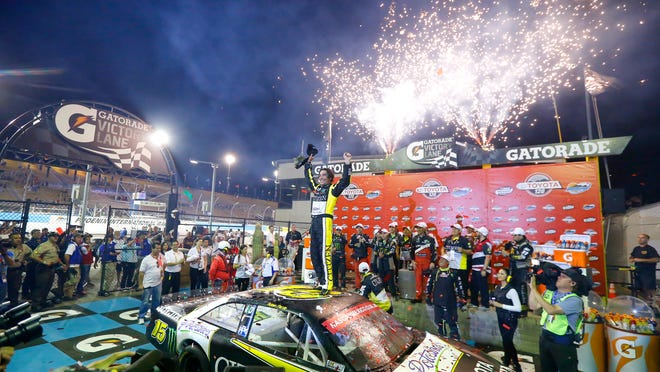 Ruben Pardo celebrates his victory in the NASCAR Mexico Series Toyota 120 on Friday night at Phoenix International Raceway.