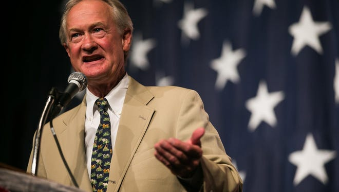 Lincoln Chafee speaks during the Iowa Democratic Wing Ding at the Surf Ballroom in Clear Lake on Friday.