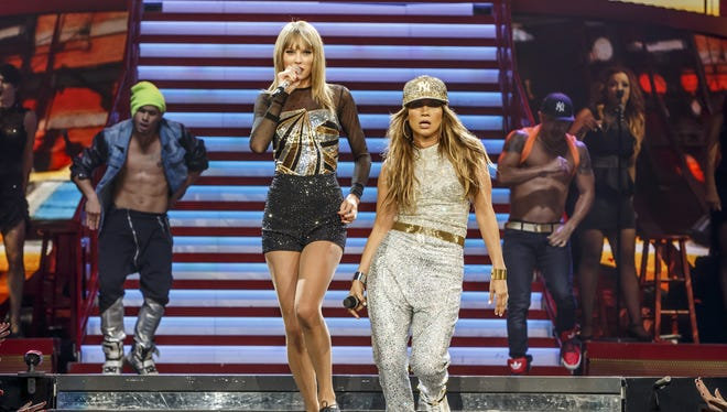 Taylor Swift and special guest Jennifer Lopez perform at Staples Center on Aug. 24 in Los Angeles.