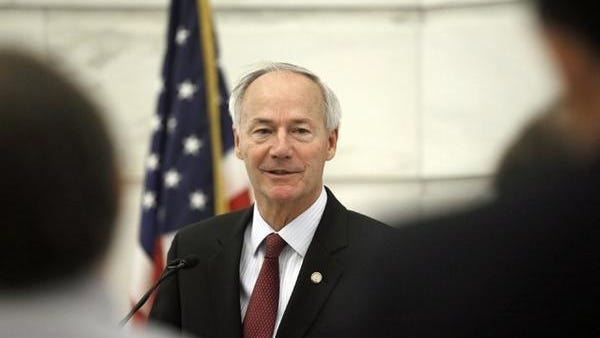 Arkansas Gov. Asa Hutchinson is seen speaking