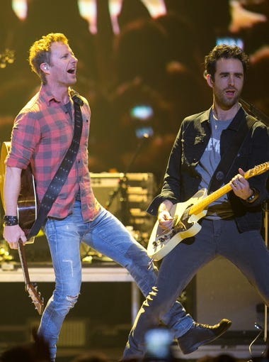 Country star Dierks Bentley performs at the CBS Radio The Night Before concert with Jason Aldean and Florida Georgia Line at US Airways Center in downtown Phoenix on Saturday, January 31, 2015.