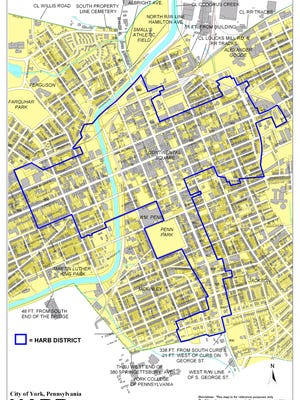 The area bounded by the blue line is York City's historical district, where any facade changes have to get the OK from the city's historical review board and council.