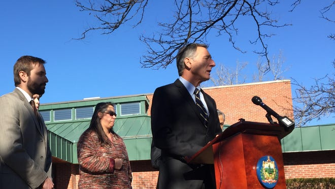 Gov. Peter Shumlin, right, speaks at a news conference in South Burlington on Monday where he was asked about Vermont's willingness to accept refugees from Syria.