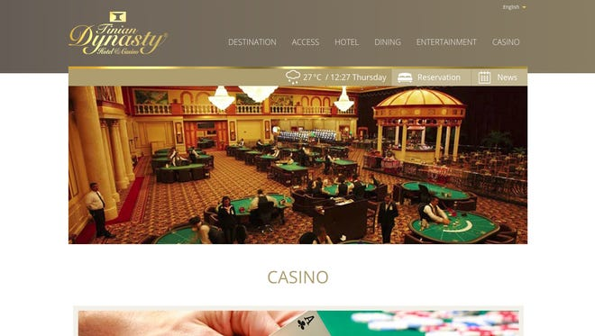 "The website for the casino of the Tinian Dynasty Hotel and Casino as screencaptured June 4, 2015. The casino has been fined $75 million by the U.S. U.S. Treasury Department's Financial Crimes Enforcement Network for ""willful egregious anti-money laundering violations."""