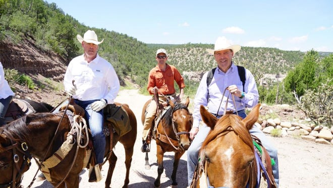 "Interior Secretary Ryan Zinke, left, posted this photo on his Twitter account, with U.S. Sens. Tom Udall, right, and Martin Heinrich, center, both D-N.M., on Saturday, July 29. ""Thx to Senators @SenatorTomUdall @MartinHeinrich for the horseback ride in the Sabinoso Wilderness in #NM today. Had fun horsing around,"" the tweet said."