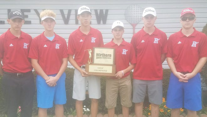 Competing at Valley View Golf Course, the Ridgedale Rockets won the Northern 10 boys golf championship Tuesday afternoon. Members of the team, from left, are Grant Park, Jesse Schertzer, Mitchill Reasoner, Brock Williams, Sam Leach and Merrick Cooper.
