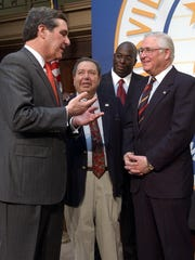 Louisville Metro Mayor Jerry Abramson (left) chatted