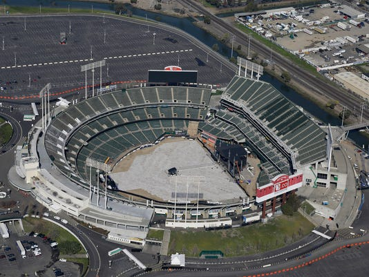FILE - This Feb. 5, 2016, file photo shows the Oakland–Alameda County Coliseum, home to the Oakland Athletics, in Oakland, Calif. The Athletics are left to consider yet another site to build a new ballpark after the team's top choice of location near Laney College fell through with the board of Peralta Community College District. A's President Dave Kaval and his team had considered this the top spot and had engaged in conversations with community members, officials and business owners in the area in hopes of building a privately financed ballpark to open as soon as 2023. (AP Photo/Eric Risberg, File)