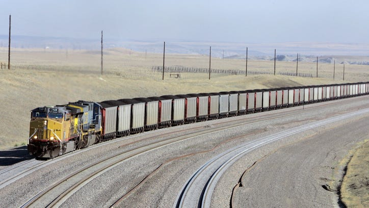 In this Aug. 22, 2006 file photo, a coal train travels in northeast Wyoming near Gillette. (AP Photo/Nati Harnik, File)