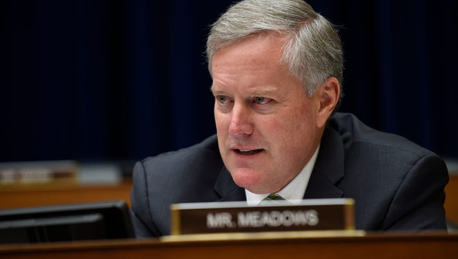 In this May 17, 2016 file photo, Rep. Mark Meadows, R-N.C. speaks on Capitol Hill in Washington.
