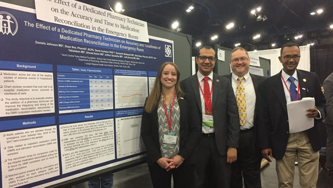 During Texas Medical Association's annual meeting May 6 in Houston, the Wichita Falls Family Medicine Residency Program presented three research posters. One of the organization's posters won third place out of a field of 36 from different residency programs throughout Texas. Pictured are residents Dr. Daniela Johnson, Dr. Amr Takieldeen, Dr. Jonathan Williams (faculty for the residency) and Dr. Adil Ahmed.